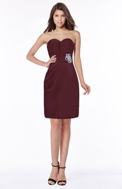 ColsBM Kenley Burgundy Gorgeous Sheath Sweetheart Zip up Satin Knee Length Bridesmaid Dresses