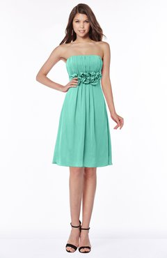 ColsBM Mckenna Mint Green Modest Bateau Sleeveless Half Backless Knee Length Appliques Bridesmaid Dresses