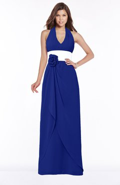 ColsBM Paulina Nautical Blue Glamorous A-line Halter Chiffon Flower Bridesmaid Dresses