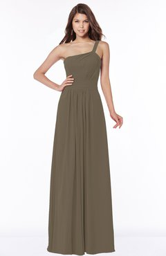 ColsBM Laverne Otter Modest A-line Half Backless Chiffon Floor Length Ruching Bridesmaid Dresses