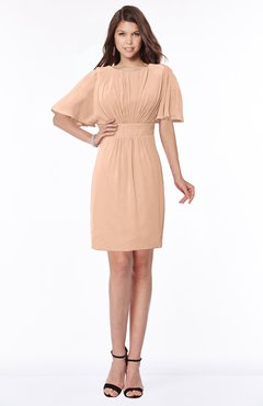 ColsBM Talia Almost Apricot Luxury A-line Short Sleeve Zip up Chiffon Pleated Bridesmaid Dresses