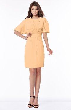 ColsBM Talia Apricot Luxury A-line Short Sleeve Zip up Chiffon Pleated Bridesmaid Dresses