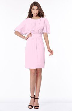 ColsBM Talia Baby Pink Luxury A-line Short Sleeve Zip up Chiffon Pleated Bridesmaid Dresses