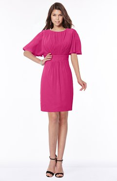 ColsBM Talia Beetroot Purple Luxury A-line Short Sleeve Zip up Chiffon Pleated Bridesmaid Dresses