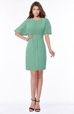 ColsBM Talia Beryl Green Luxury A-line Short Sleeve Zip up Chiffon Pleated Bridesmaid Dresses