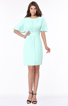 ColsBM Talia Blue Glass Luxury A-line Short Sleeve Zip up Chiffon Pleated Bridesmaid Dresses