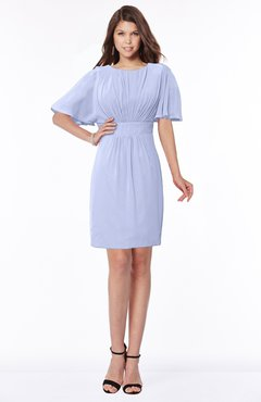 ColsBM Talia Blue Heron Luxury A-line Short Sleeve Zip up Chiffon Pleated Bridesmaid Dresses