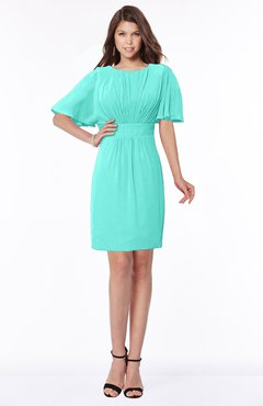 ColsBM Talia Blue Turquoise Luxury A-line Short Sleeve Zip up Chiffon Pleated Bridesmaid Dresses
