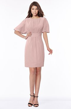 ColsBM Talia Blush Pink Luxury A-line Short Sleeve Zip up Chiffon Pleated Bridesmaid Dresses