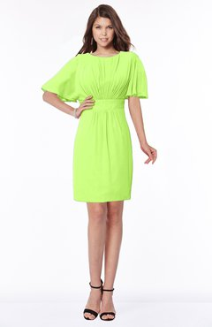 ColsBM Talia Bright Green Luxury A-line Short Sleeve Zip up Chiffon Pleated Bridesmaid Dresses