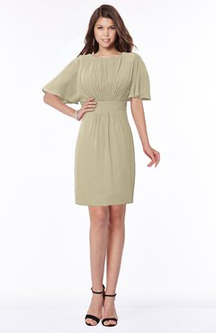 ColsBM Talia Candied Ginger Luxury A-line Short Sleeve Zip up Chiffon Pleated Bridesmaid Dresses