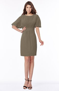 ColsBM Talia Carafe Brown Luxury A-line Short Sleeve Zip up Chiffon Pleated Bridesmaid Dresses