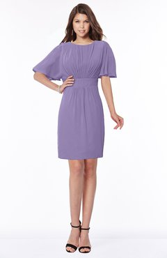 ColsBM Talia Chalk Violet Luxury A-line Short Sleeve Zip up Chiffon Pleated Bridesmaid Dresses