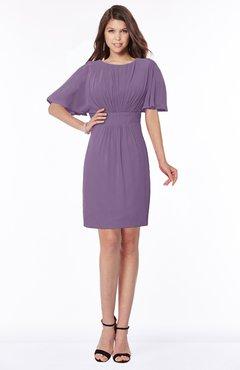 ColsBM Talia Chinese Violet Luxury A-line Short Sleeve Zip up Chiffon Pleated Bridesmaid Dresses