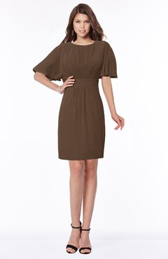 ColsBM Talia Chocolate Brown Luxury A-line Short Sleeve Zip up Chiffon Pleated Bridesmaid Dresses