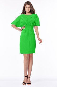 ColsBM Talia Classic Green Luxury A-line Short Sleeve Zip up Chiffon Pleated Bridesmaid Dresses