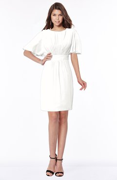 ColsBM Talia Cloud White Luxury A-line Short Sleeve Zip up Chiffon Pleated Bridesmaid Dresses