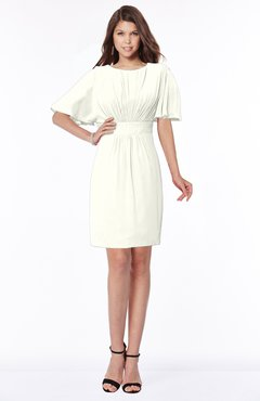 ColsBM Talia Cream Luxury A-line Short Sleeve Zip up Chiffon Pleated Bridesmaid Dresses