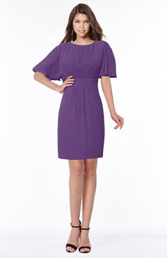 ColsBM Talia Dark Purple Luxury A-line Short Sleeve Zip up Chiffon Pleated Bridesmaid Dresses