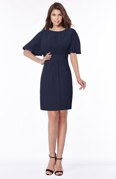 ColsBM Talia Dark Sapphire Luxury A-line Short Sleeve Zip up Chiffon Pleated Bridesmaid Dresses