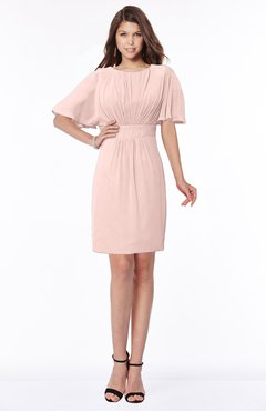 ColsBM Talia Dusty Rose Luxury A-line Short Sleeve Zip up Chiffon Pleated Bridesmaid Dresses