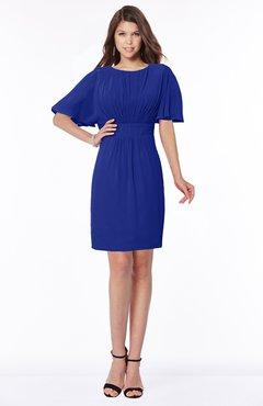 ColsBM Talia Electric Blue Luxury A-line Short Sleeve Zip up Chiffon Pleated Bridesmaid Dresses