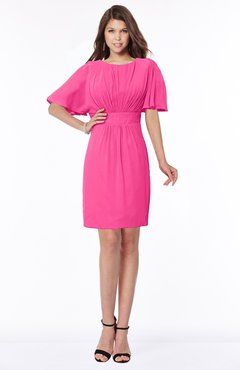 ColsBM Talia Fandango Pink Luxury A-line Short Sleeve Zip up Chiffon Pleated Bridesmaid Dresses