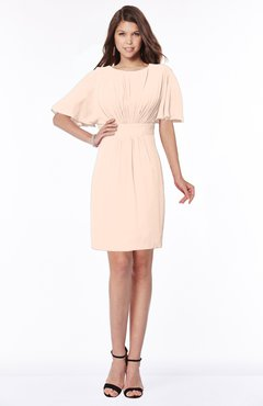ColsBM Talia Fresh Salmon Luxury A-line Short Sleeve Zip up Chiffon Pleated Bridesmaid Dresses