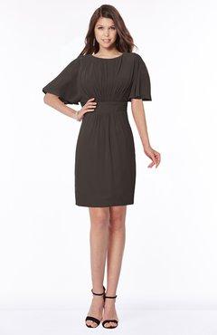 ColsBM Talia Fudge Brown Luxury A-line Short Sleeve Zip up Chiffon Pleated Bridesmaid Dresses