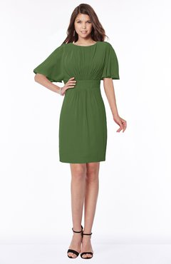 ColsBM Talia Garden Green Luxury A-line Short Sleeve Zip up Chiffon Pleated Bridesmaid Dresses