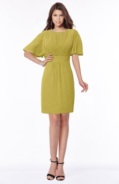 ColsBM Talia Golden Olive Luxury A-line Short Sleeve Zip up Chiffon Pleated Bridesmaid Dresses