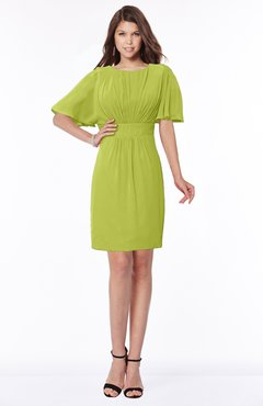 ColsBM Talia Green Oasis Luxury A-line Short Sleeve Zip up Chiffon Pleated Bridesmaid Dresses