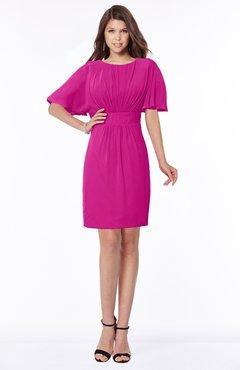 ColsBM Talia Hot Pink Luxury A-line Short Sleeve Zip up Chiffon Pleated Bridesmaid Dresses