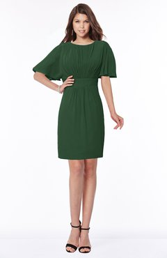 ColsBM Talia Hunter Green Luxury A-line Short Sleeve Zip up Chiffon Pleated Bridesmaid Dresses