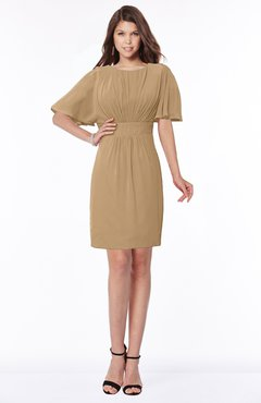 ColsBM Talia Indian Tan Luxury A-line Short Sleeve Zip up Chiffon Pleated Bridesmaid Dresses