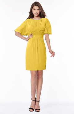 ColsBM Talia Lemon Curry Luxury A-line Short Sleeve Zip up Chiffon Pleated Bridesmaid Dresses