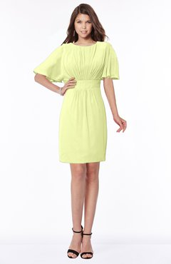 ColsBM Talia Lime Green Luxury A-line Short Sleeve Zip up Chiffon Pleated Bridesmaid Dresses