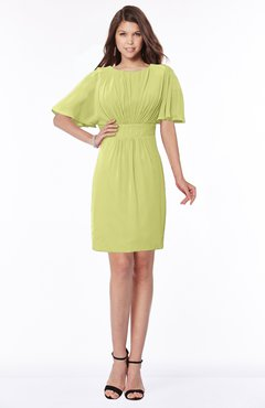 ColsBM Talia Linden Green Luxury A-line Short Sleeve Zip up Chiffon Pleated Bridesmaid Dresses