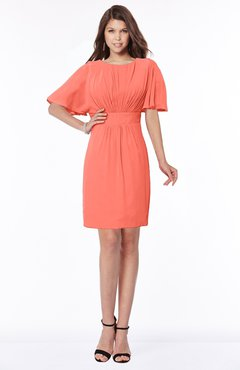 ColsBM Talia Living Coral Luxury A-line Short Sleeve Zip up Chiffon Pleated Bridesmaid Dresses