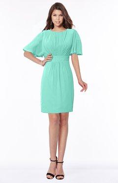 ColsBM Talia Mint Green Luxury A-line Short Sleeve Zip up Chiffon Pleated Bridesmaid Dresses