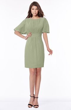 ColsBM Talia Moss Green Luxury A-line Short Sleeve Zip up Chiffon Pleated Bridesmaid Dresses