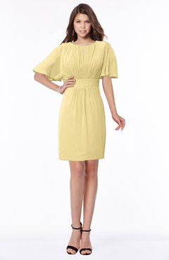 ColsBM Talia New Wheat Luxury A-line Short Sleeve Zip up Chiffon Pleated Bridesmaid Dresses