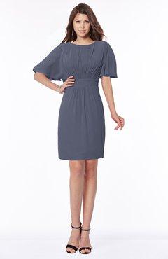 ColsBM Talia Nightshadow Blue Luxury A-line Short Sleeve Zip up Chiffon Pleated Bridesmaid Dresses