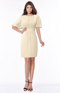 ColsBM Talia Novelle Peach Luxury A-line Short Sleeve Zip up Chiffon Pleated Bridesmaid Dresses