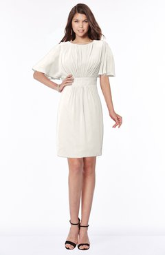 ColsBM Talia Off White Luxury A-line Short Sleeve Zip up Chiffon Pleated Bridesmaid Dresses