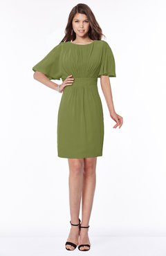 ColsBM Talia Olive Green Luxury A-line Short Sleeve Zip up Chiffon Pleated Bridesmaid Dresses