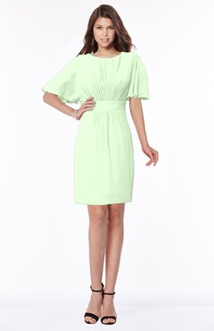 ColsBM Talia Pale Green Luxury A-line Short Sleeve Zip up Chiffon Pleated Bridesmaid Dresses