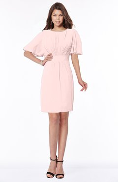 ColsBM Talia Pastel Pink Luxury A-line Short Sleeve Zip up Chiffon Pleated Bridesmaid Dresses