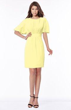 ColsBM Talia Pastel Yellow Luxury A-line Short Sleeve Zip up Chiffon Pleated Bridesmaid Dresses