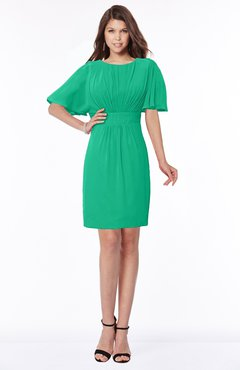 ColsBM Talia Pepper Green Luxury A-line Short Sleeve Zip up Chiffon Pleated Bridesmaid Dresses
